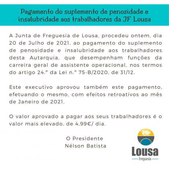 Pagamento do suplemento de penosidade e insalubridade aos trabalhadores da JF Lousa
